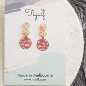 Coral Small Round Drop Earring