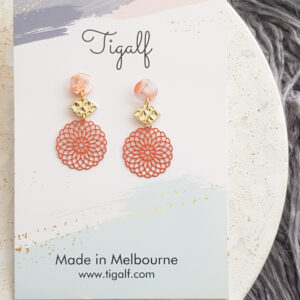 Coral Round Drop Earring
