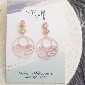 Pink Round Drop Earring