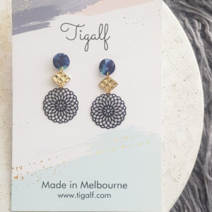 Navy Round Drop Earring