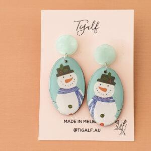 Oval Snowman Earring