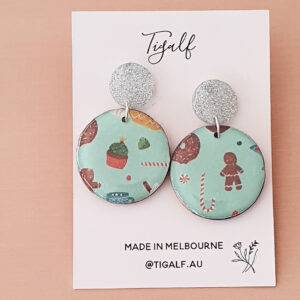 Round Christmas Earring