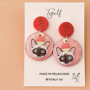 Christmas Cat Earring