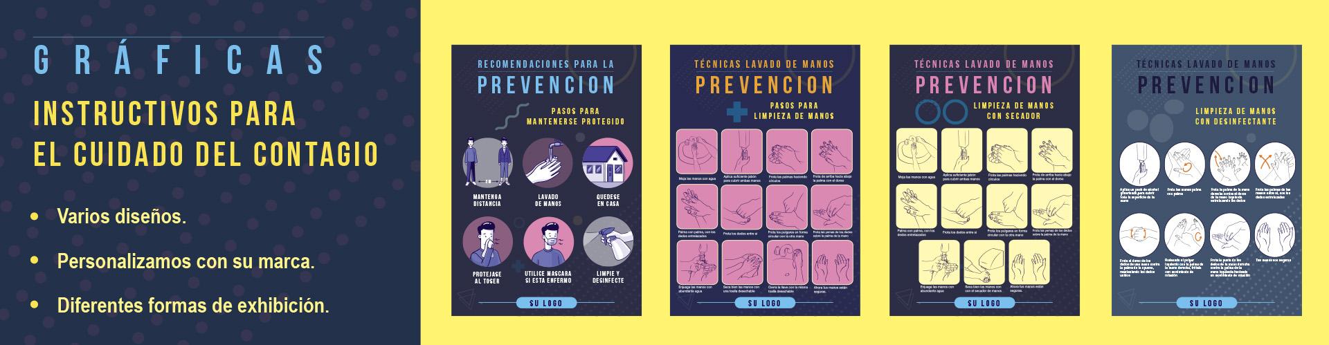 Gráficas e instructivos para la prevención del contagio