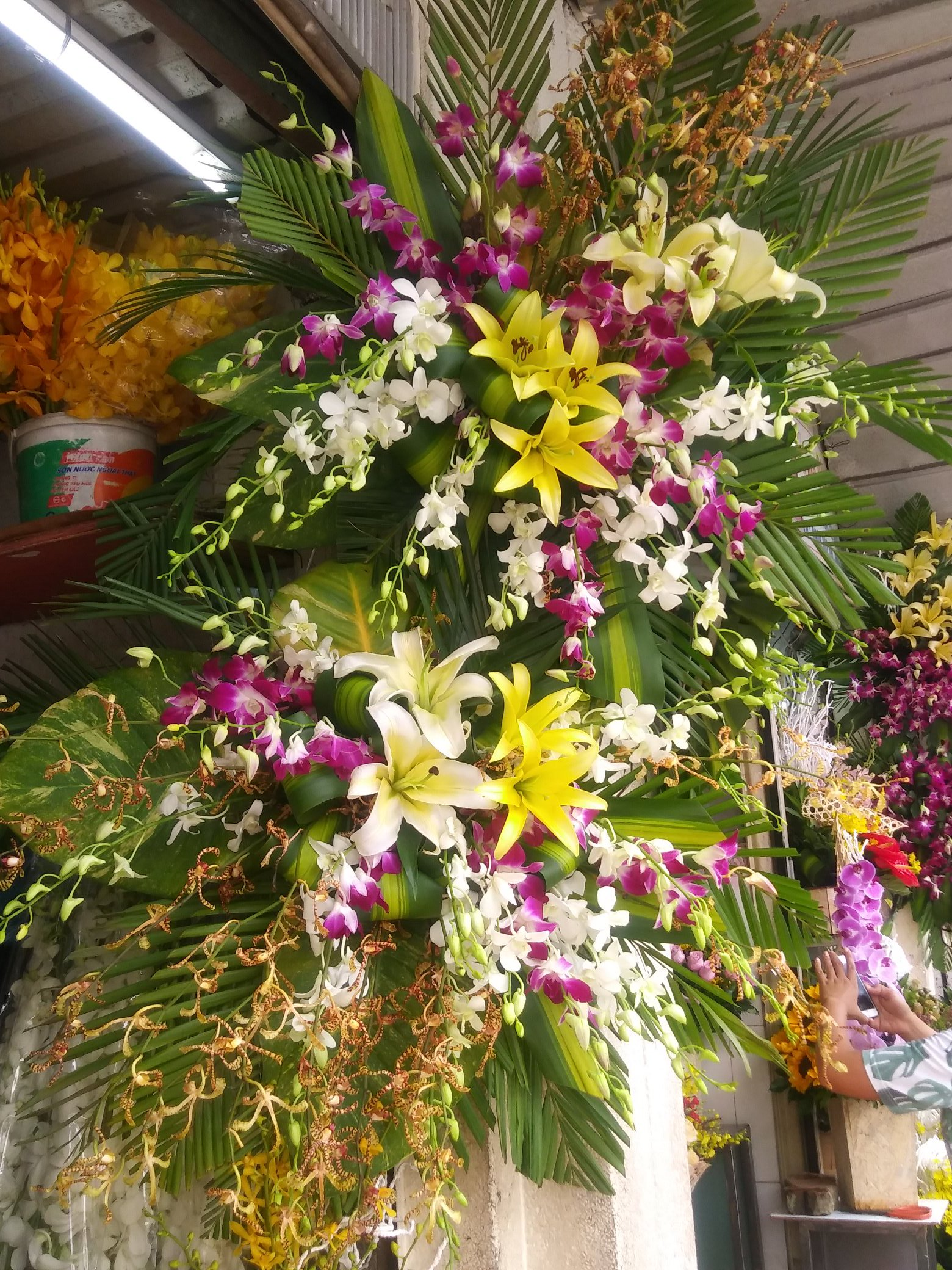 You can buy stunning  flower arrangements off the shelves at the market