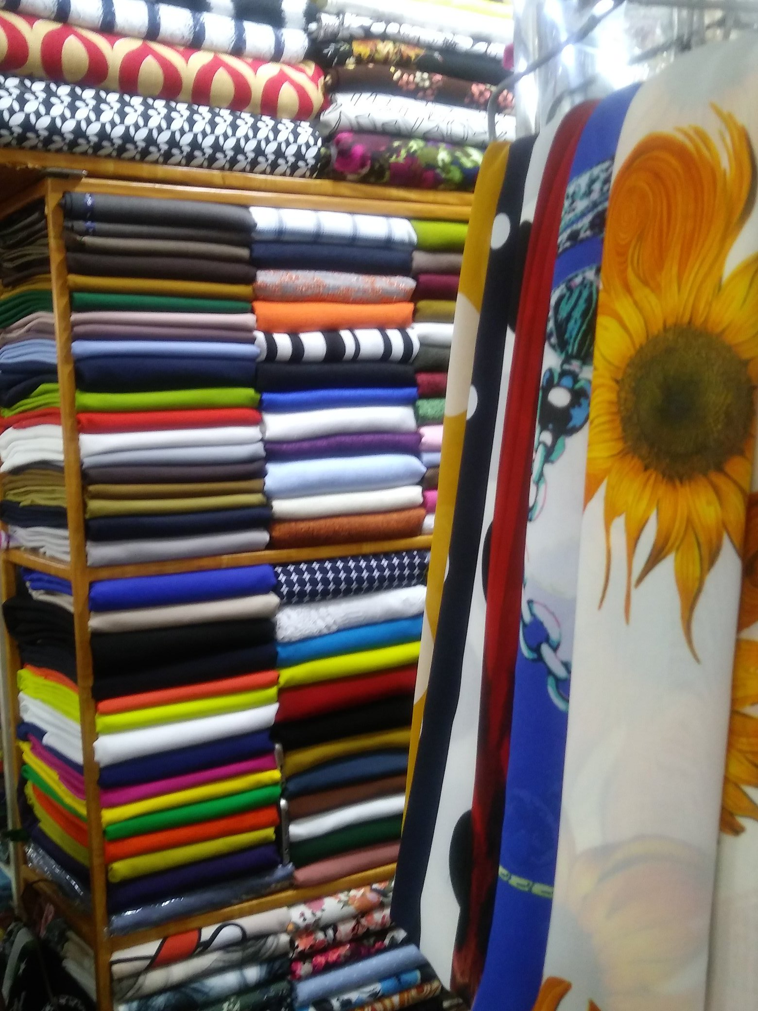 Fabrics at the market