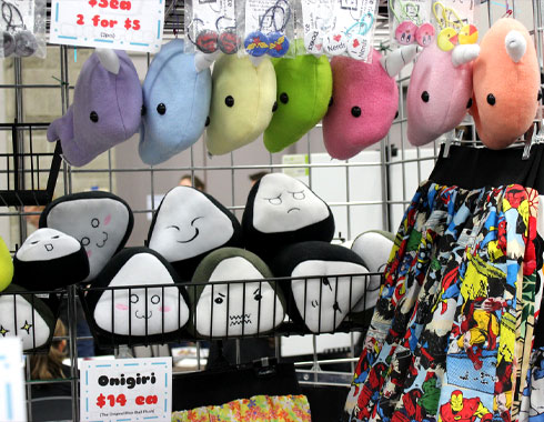 nicericeshop event booth toy geeky plush onigiri and narwhals