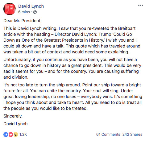 David Lynch's response to President Trump on Facebook
