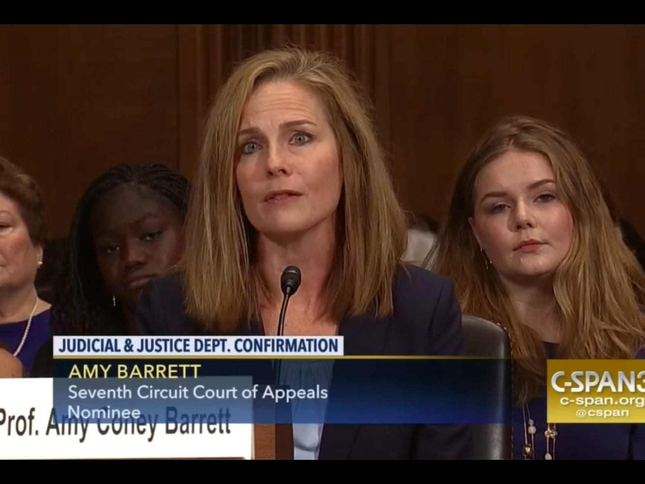 Amy Coney Barrett during her confirmation hearing last year for the federal bench.