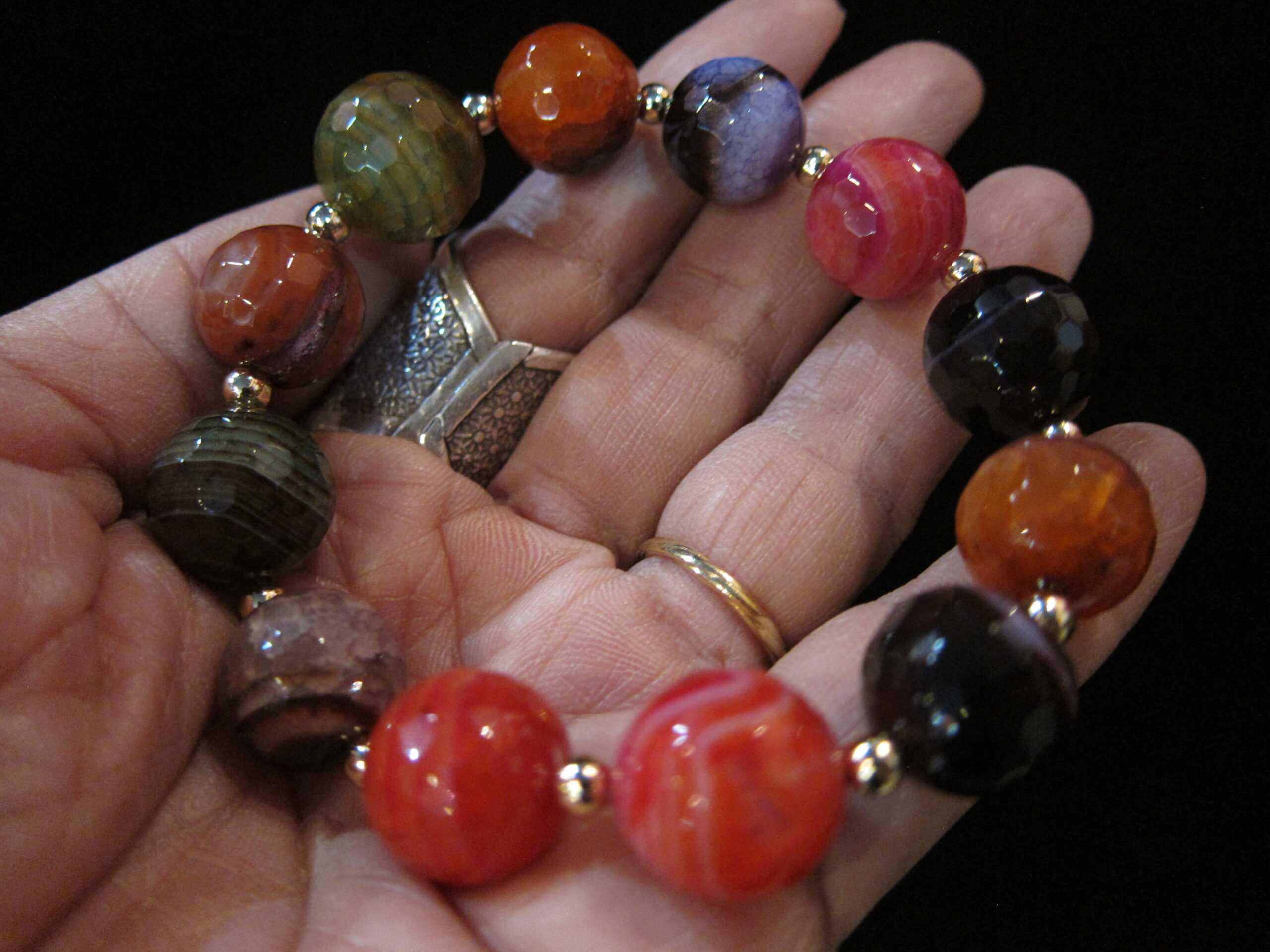 Multi Color Agate Stone Stretchy Bracelet