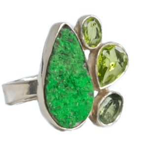 Green Power Silver Plated Ring