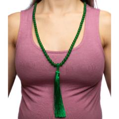 Jade Mala with Long Green Tassel