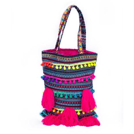Tote Bag Colorful Pompom