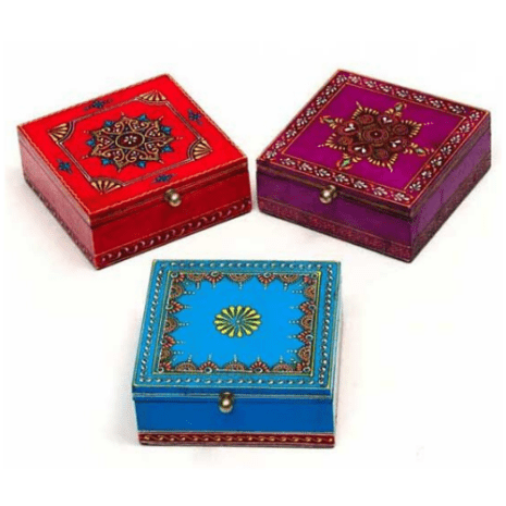 Hand Painted Hinged Wood Boxes 5x5