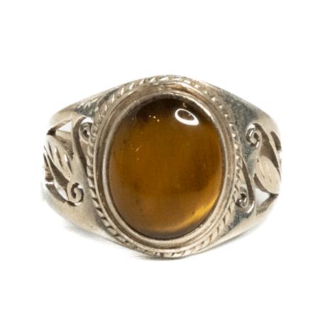 Polished Tigers Eye Ring Size 7 3_4