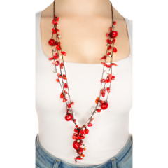 Coral & Pearl handmade Strand Necklace