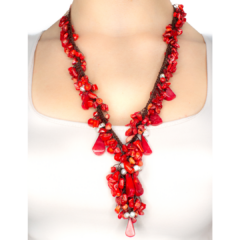 Dangling Coral & Pearl handmade Necklace