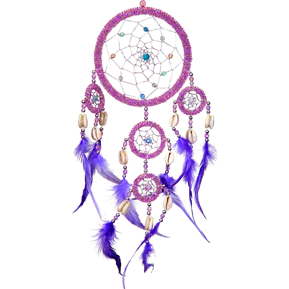 Hand Embroidered Pink Dreamcatcher With Sea Shells