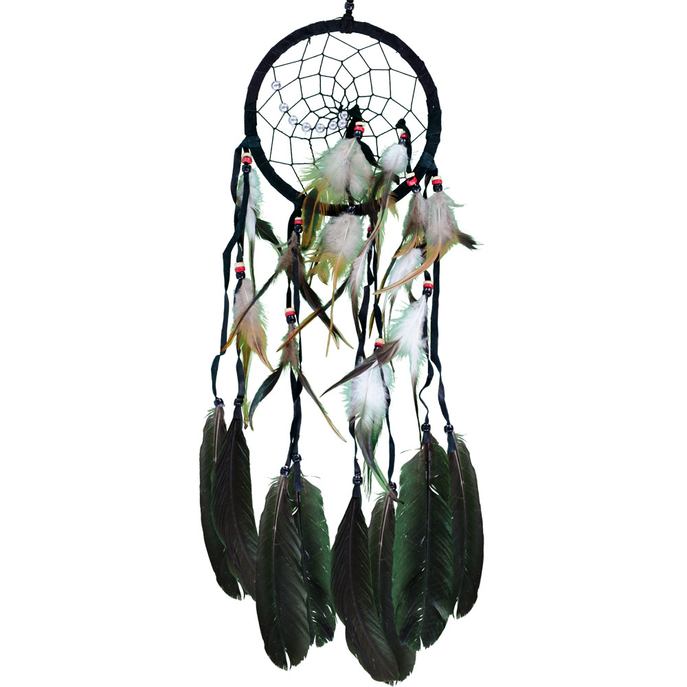 Green Dreamcatcher with Embroidered Clear Quartz