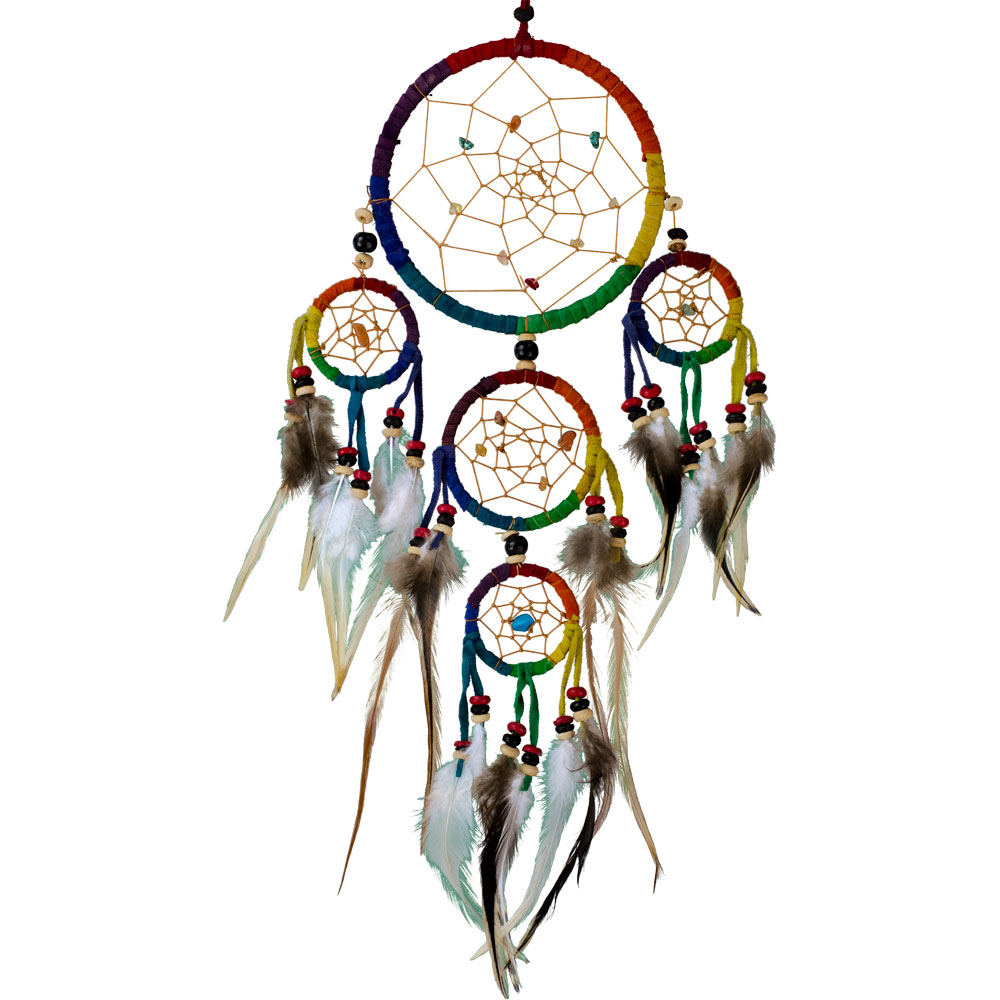Multicolored Dreamcatcher with Embroidered Stones