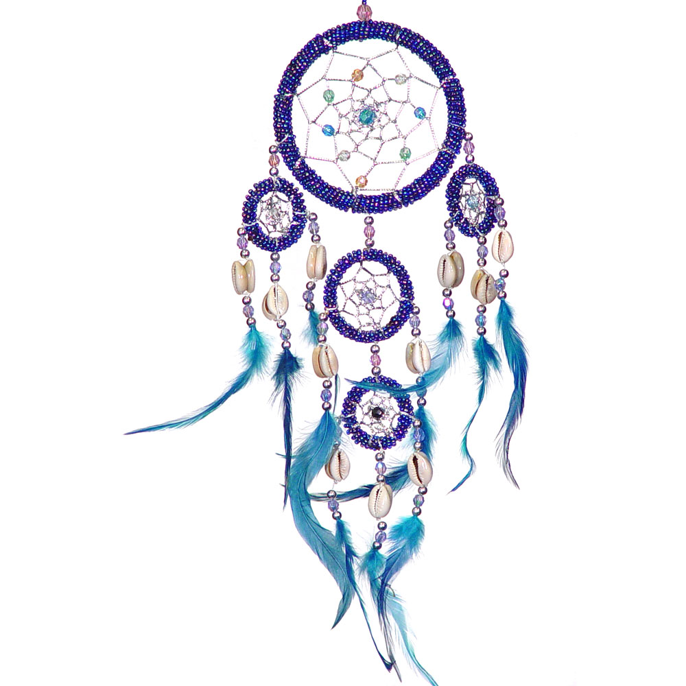 Hand Embroidered Dreamcatcher With Blue Beads and Sea Shells
