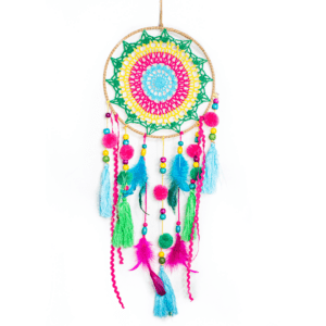 Multicolored Macrame Dreamcatcher with Ribbons and Beads