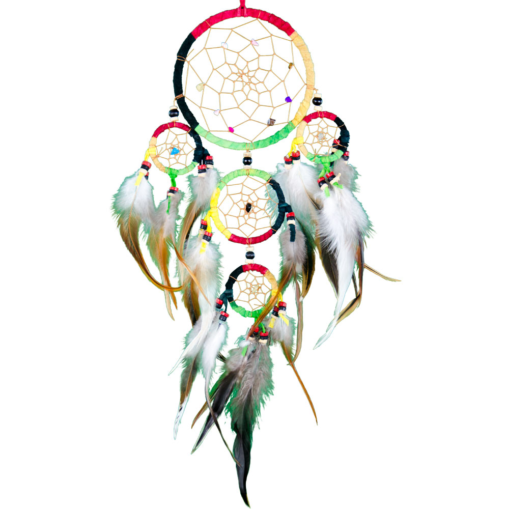 Multilayered Dreamcatcher with Embroidered Gemstones