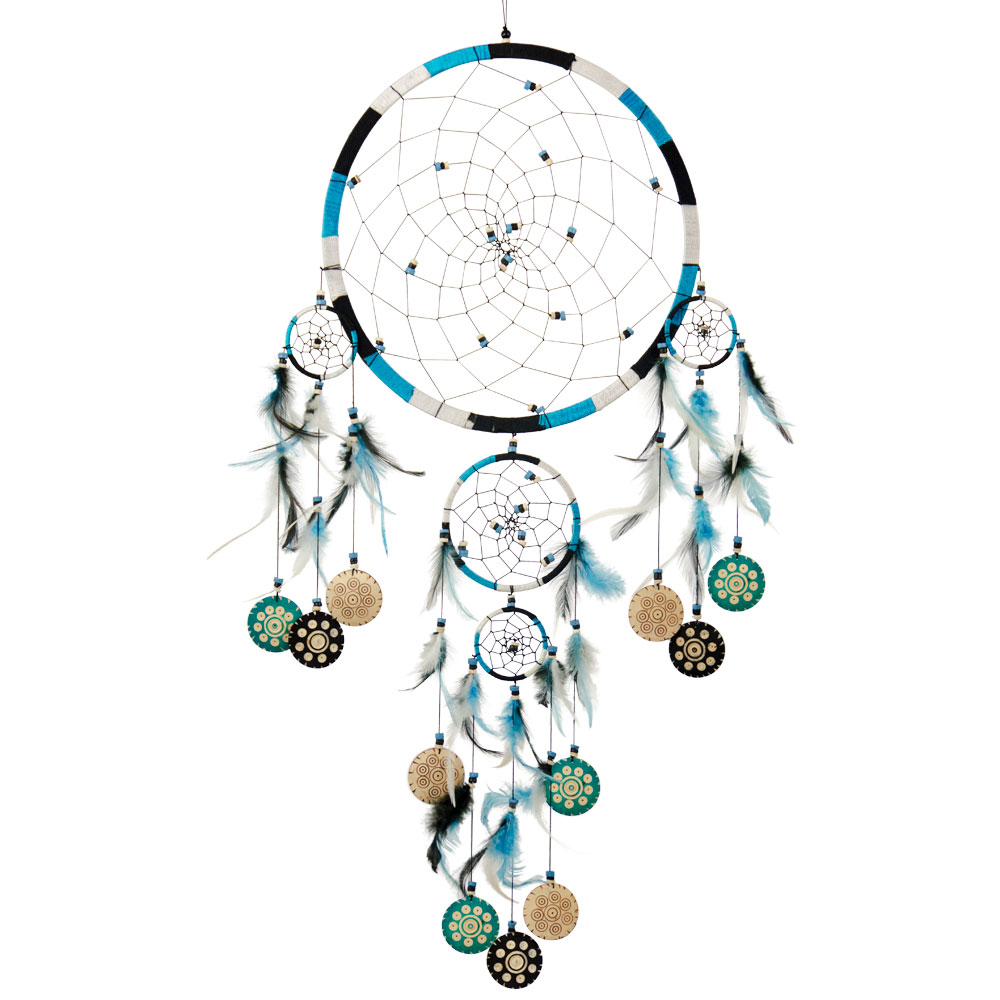 Blue and White Triple Layered Dreamcatcher with Hanging Medallions