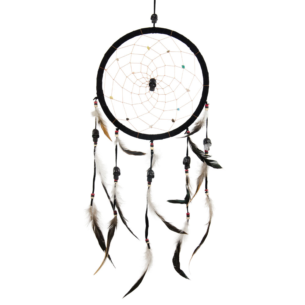 Black Dreamcatcher with Skull Beads and Feathers