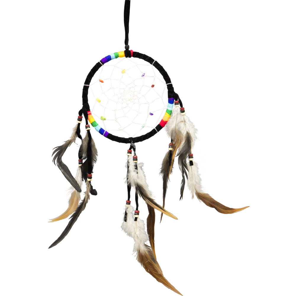 Black Dreamcatcher with Rainbow Embroidery
