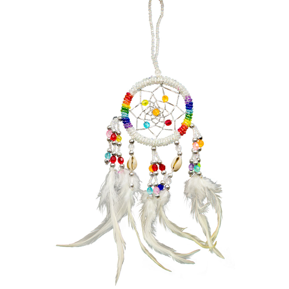 Hand Embroidered White Dreamcatcher with Sea Shells