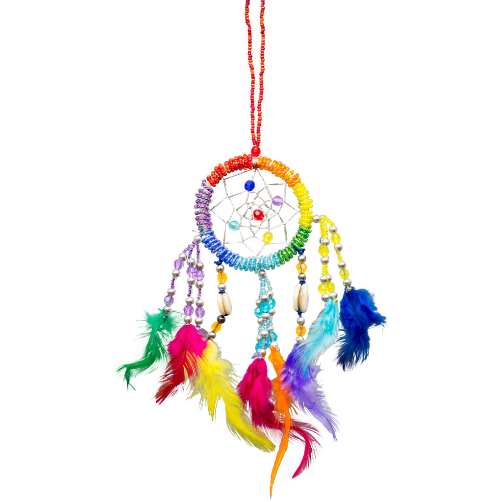 Hand Embroidered Rainbow Dreamcatcher with Beads