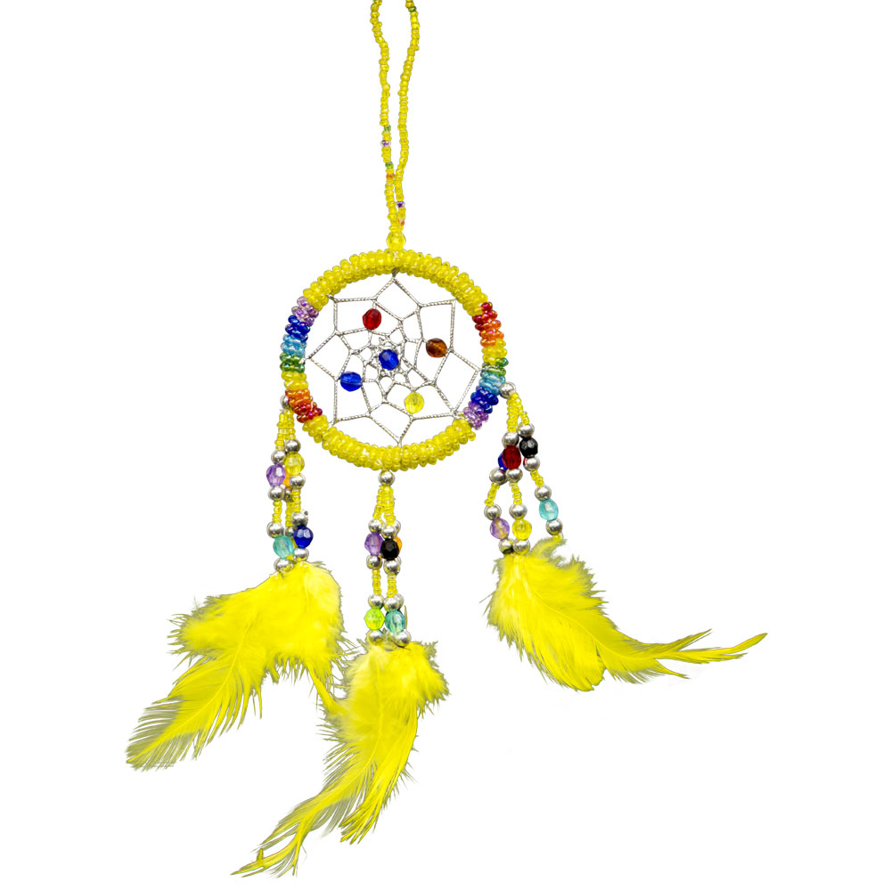 Hand Embroidered Yellow Dreamcatcher with Beads
