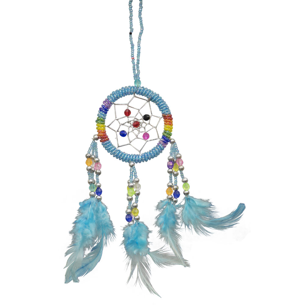 Hand Embroidered Light Blue Dreamcatcher with Beads
