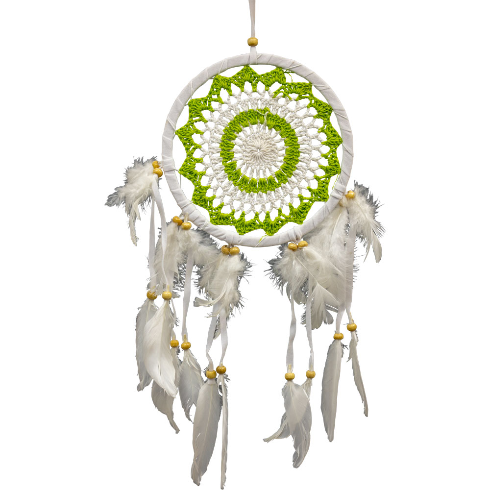 White and Green Macrame Feathered Dreamcatcher