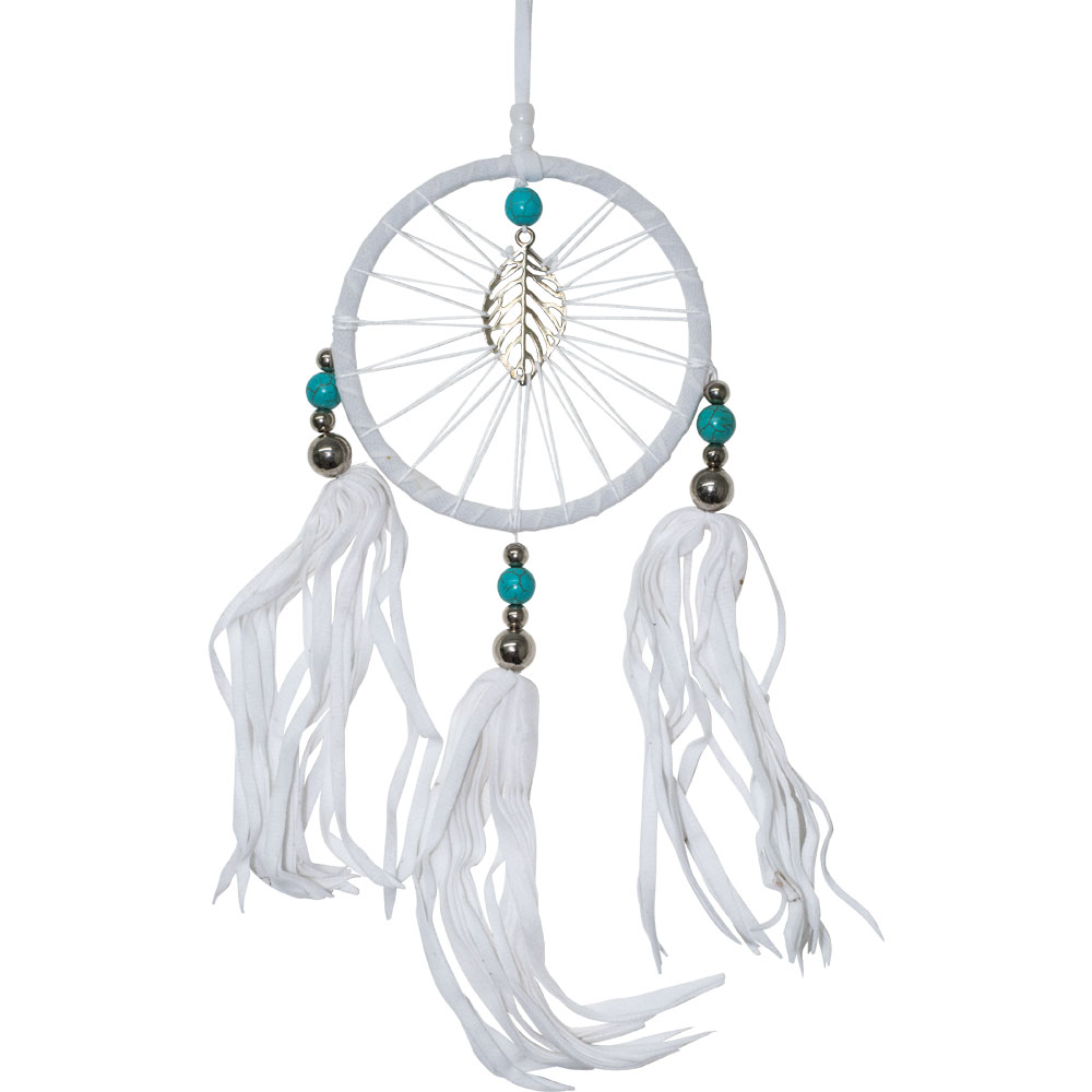 White Dreamcatcher with a Silver Leaf Totem