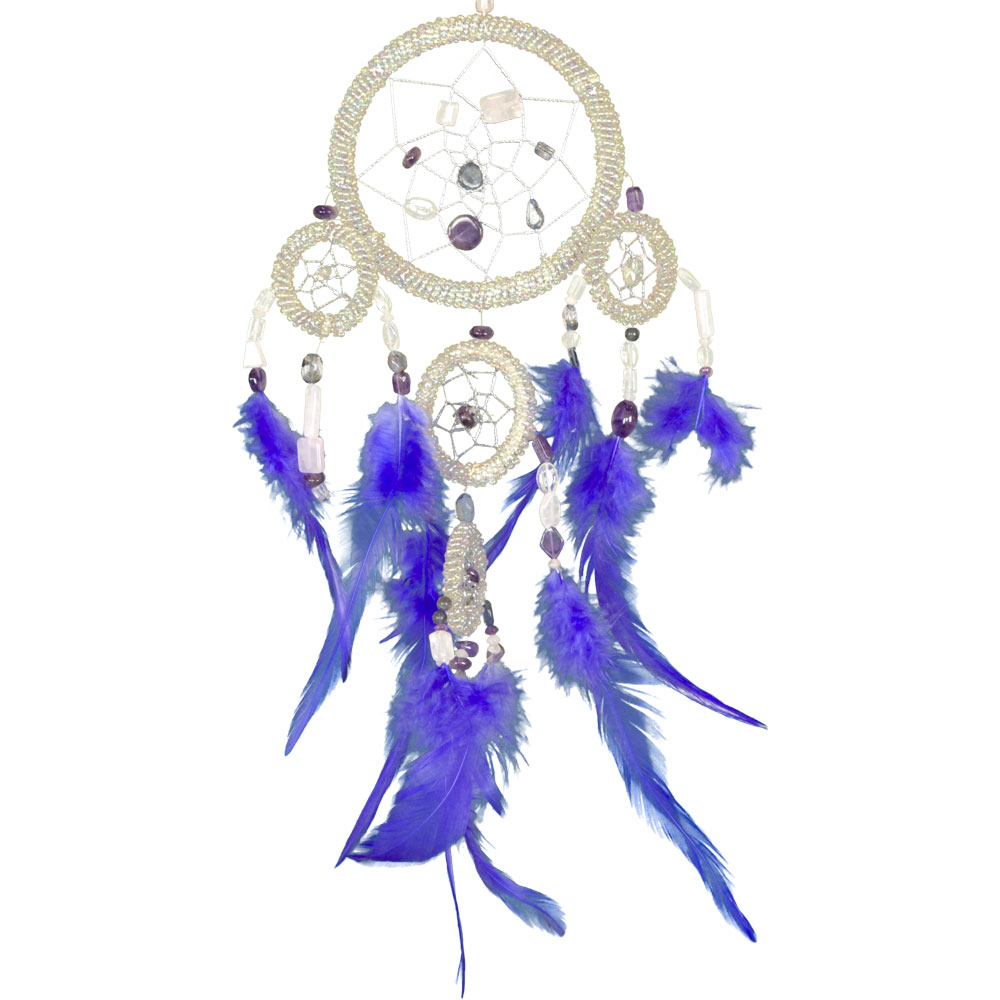 White Beaded Dreamcatcher with Embroidered Crystals and Feathers