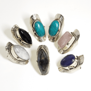Gemstone Sterling Silver Locket Band Rings