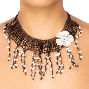 Hand-Woven Fringe Necklace With Mother of Pearl Accents