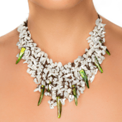 Handmade Fringe Necklace with Mother of Pearl & Tinted Accents
