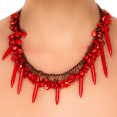 Handmade Coral Dagger Necklace