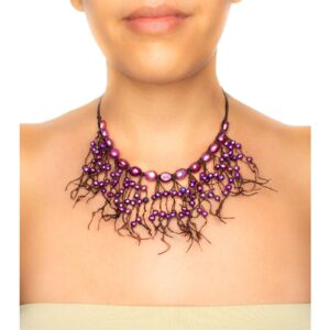Handmade Fringe Necklace with Purple Mother of Pearl