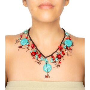 Hand-Woven Rope Necklace with Coral and Howlite Fringes
