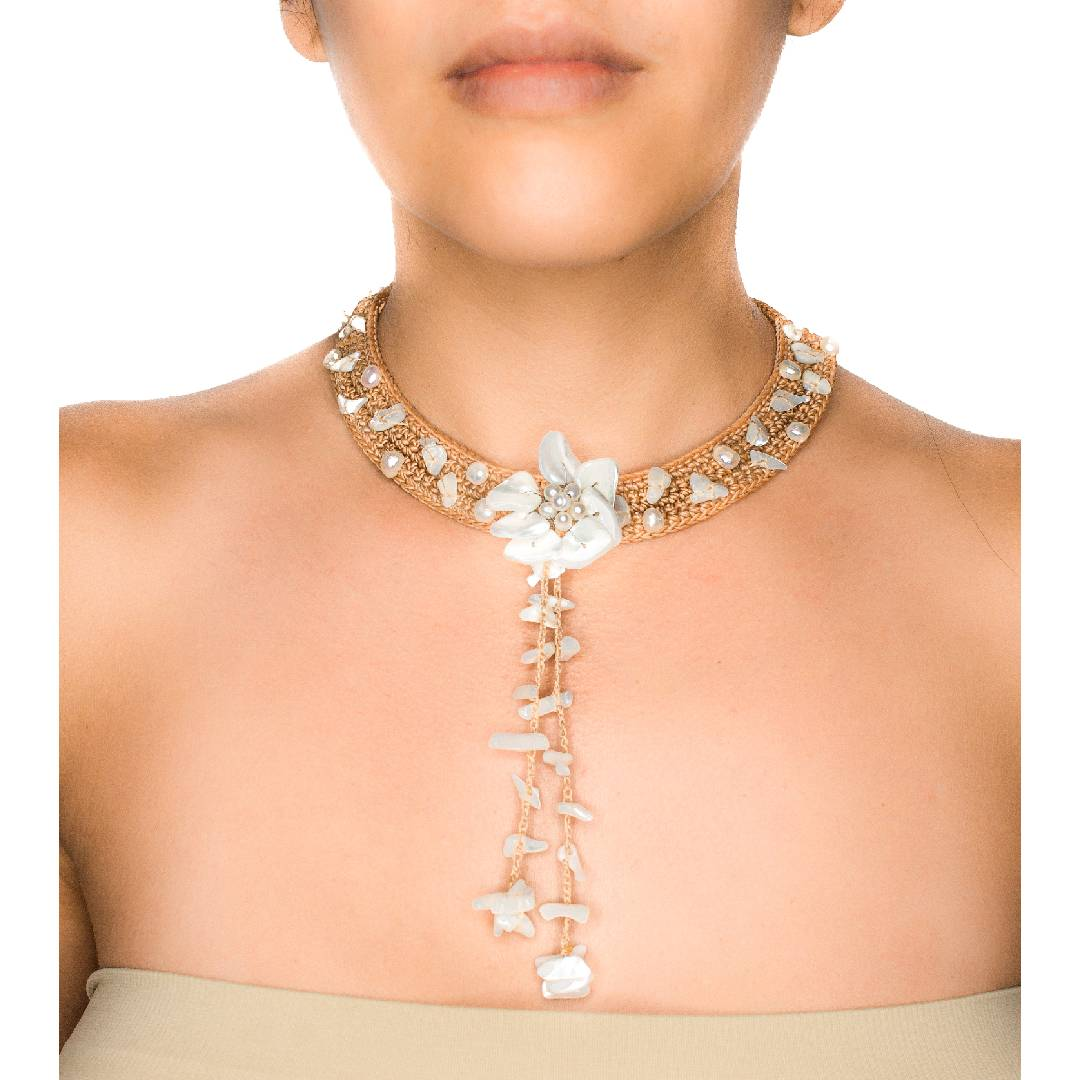 Hand-Woven Fringe Choker Necklace With Mother of Pearl Accents