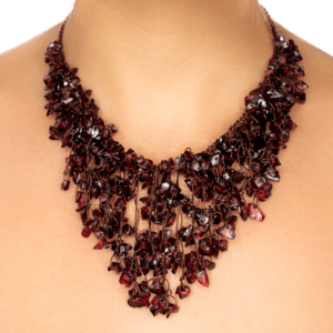 Handmade Garnet Fringed Collar Necklace