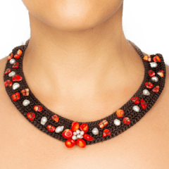 Hand-Woven Flower Necklace With Coral and Mother of Pearl