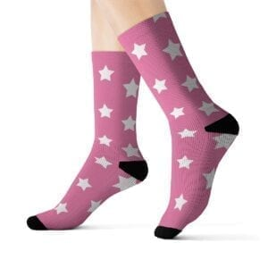 womans rockin' star socks pink