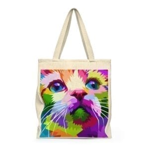 Mosaic Kitty Shoulder Tote Bag - Roomy