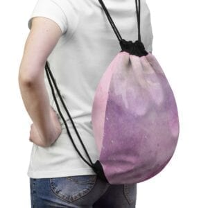 Pink Watercolor Drawstring Bag