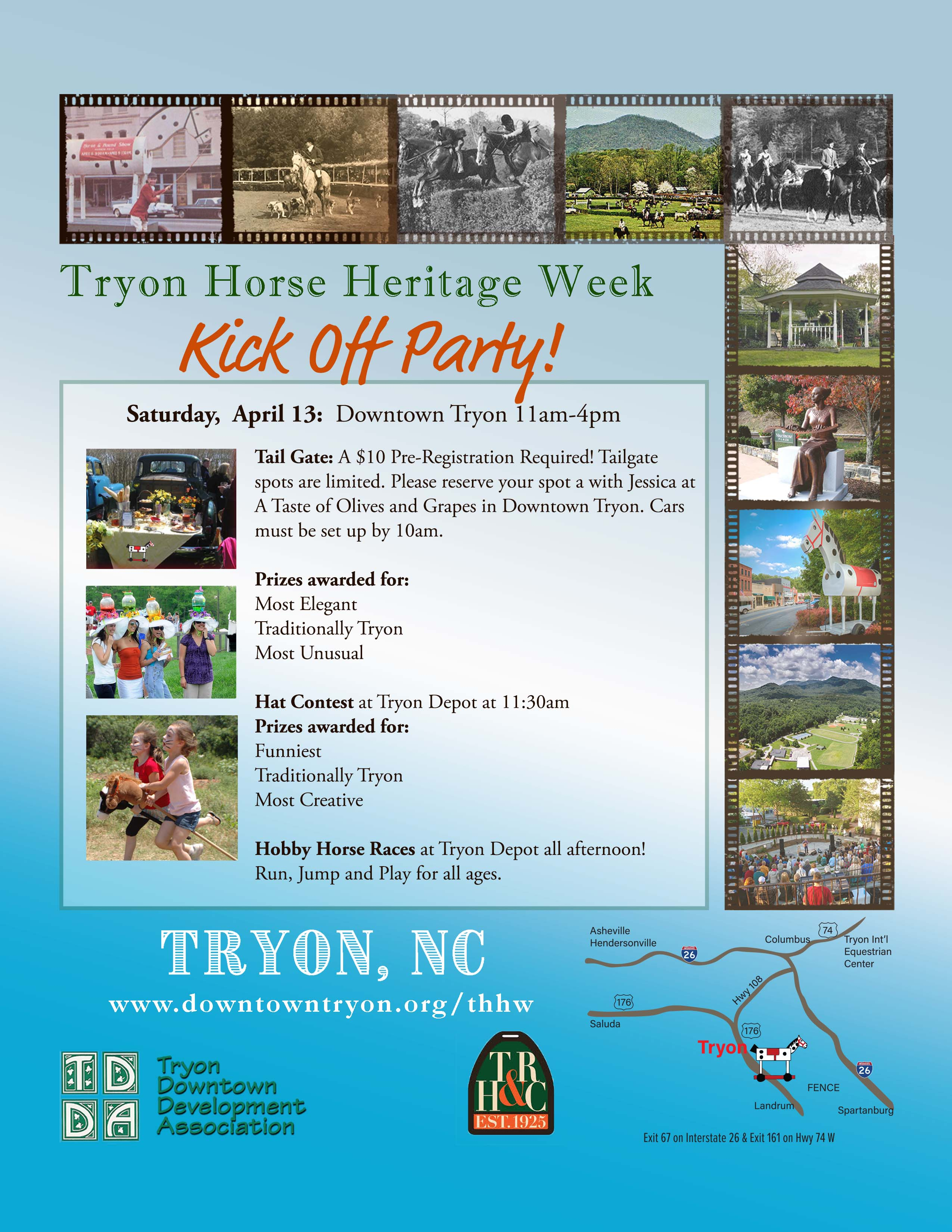 THHW kickoff party flyer tailgate hats